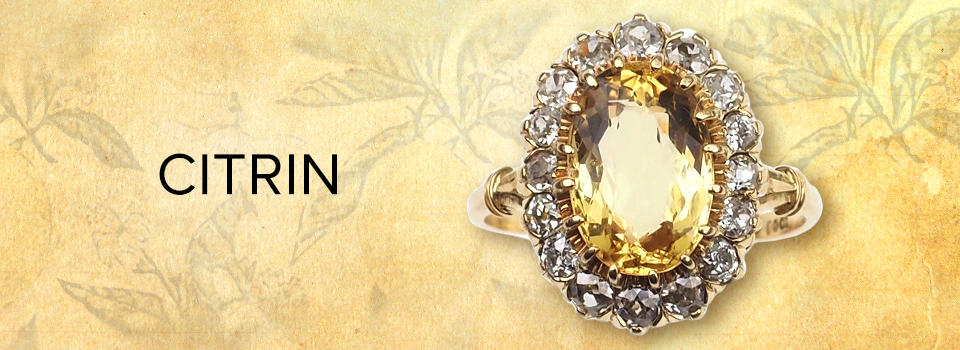 Citrin-Ring mit Gold & Diamanten