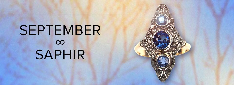 Geburtsstein für September: Saphir-Ring